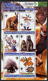 Congo 2005 The Nature Conservancy  Walt Disney Characters & Animals #1 perf sheetlet containing 6 values each with Scout Logo unmounted mint