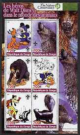 Congo 2005 The Nature Conservancy  Walt Disney Characters & Animals #3 perf sheetlet containing 6 values each with Scout Logo unmounted mint