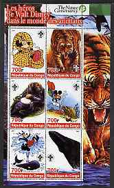 Congo 2005 The Nature Conservancy  Walt Disney Characters & Animals #4 perf sheetlet containing 6 values each with Scout Logo unmounted mint