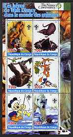 Congo 2005 The Nature Conservancy  Walt Disney Characters & Animals #5 perf sheetlet containing 6 values each with Scout Logo unmounted mint