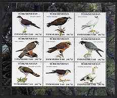 Turkmenistan 2000 ? Birds of Prey perf sheetlet containing 9 values unmounted mint