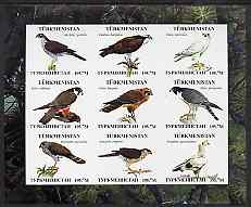 Turkmenistan 2000 ? Birds of Prey imperf sheetlet containing 9 values unmounted mint