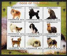 Turkmenistan 2000 ? Dogs of the World perf sheetlet containing 9 values with Scout logo in margins unmounted mint