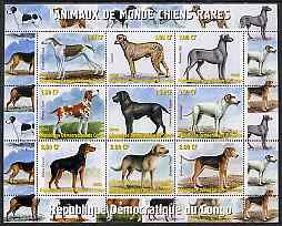 Congo 2000 Rare Dogs of the World #1 perf sheetlet containing 9 values unmounted mint