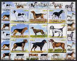 Congo 2000 Rare Dogs of the World #2 perf sheetlet containing 9 values unmounted mint