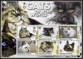 Benin 2003 Cats of the World perf sheetlet containing 6 values each with Scout & Rotary logos unmounted mint