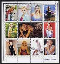 Bashkortostan 2000 Cameron Diaz perf sheetlet containing set of 12 values unmounted mint