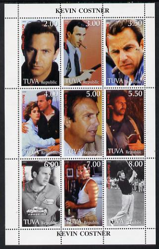 Touva 1999 Kevin Costner sheetlet containing complete set of 9 values (incl KC playing Golf)