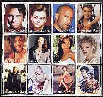 Chakasia 2001 Movie Stars perf sheetlet containing set of 12 values unmounted mint