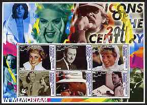 Somalia 2001 Icons of the 20th Century #19 - Princess Di & Walt Disney perf sheetlet containing 6 values (also shows Mick Jagger, Madonna, Spielberg, Luther King & Liz Ta...