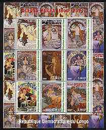 Congo 2000 Alfons Mucha - Art Nouveau Posters perf sheetlet containing set of 9 values unmounted mint