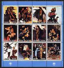 Komi Republic 2000 Norman Rockwell Scout Paintings perf sheetlet containing set of 12 values unmounted mint