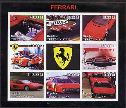 Turkmenistan 1999 Ferrari imperf sheetlet containing set of 8 values plus label unmounted mint