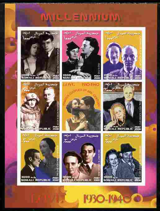 Somalia 2000 Love 1930-40 (Personalities) imperf sheetlet containing set of 8 values plus label unmounted mint. Note this item is privately produced and is offered purely on its thematic appeal, stamps on personalities, stamps on women, stamps on films, stamps on cinenma, stamps on movies