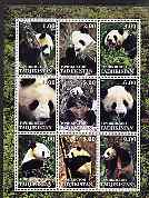 Tadjikistan 2001 Pandas perf sheetlet containing 9 values unmounted mint