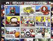 Tadjikistan 2001 South Park - Merry Christmas perf sheetlet containing 9 values unmounted mint