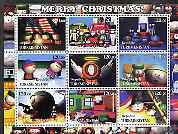 Turkmenistan 2001 South Park - Merry Christmas perf sheetlet containing 9 values unmounted mint