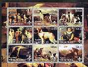 Turkmenistan 2001 Paintings with Dogs perf sheetlet containing 9 values, each with Scouts Logo unmounted mint, stamps on arts, stamps on dogs, stamps on scouts