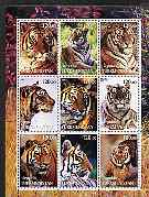 Turkmenistan 2001 Tigers perf sheetlet containing 9 values unmounted mint