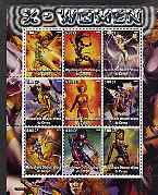 Congo 2002 X-Men, X-Women perf sheet containing set of 9 values unmounted mint