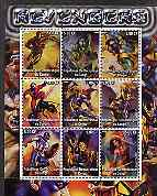 Congo 2002 X-Men, Revengers perf sheet containing set of 9 values unmounted mint