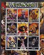 Congo 2002 X-Men - Titans #1 perf sheet containing set of 9 values unmounted mint