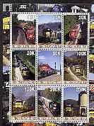 Myanmar 2001 Locomotives #1 perf sheetlet containing set of 9 values (vert format) unmounted mint