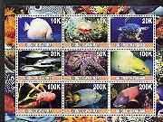 Myanmar 2001 Marine Life perf sheetlet containing set of 9 values unmounted mint