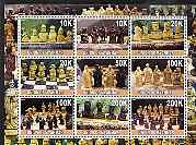 Myanmar 2001 Chess Pieces (horiz format) perf sheetlet containing set of 9 values unmounted mint
