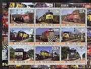 Myanmar 2001 Locomotives #2 perf sheetlet containing set of 9 values (horiz format) unmounted mint