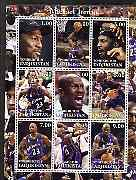 Tadjikistan 2001 Michael Jordan perf sheetlet containing complete set of 9 values unmounted mint