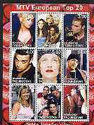 Tadjikistan 2001 MTV European Top 20 perf sheetlet containing 9 values unmounted mint (Robbie Williams, Madonna, Britney Spears, Ricky Martin etc)