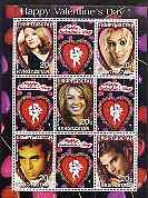 Kyrgyzstan 2001 Happy Valentine's Day perf sheetlet containing 9 values unmounted mint (Madonna, Ricky Martin etc)