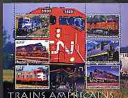 Congo 2005 American Diesel Trains perf sheetlet containing set of 6 values unmounted mint, stamps on railways