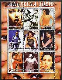 Congo 2005 Angelina Jolie #1 perf sheetlet containing 9 values unmounted mint