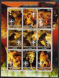 Congo 2004 Lions perf sheetlet containing 9 values each with Scout Logo unmounted mint