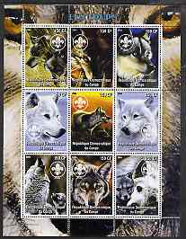 Congo 2004 Wolves perf sheetlet containing 9 values each with Scout Logo unmounted mint