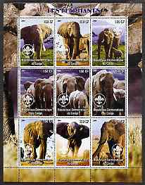 Congo 2004 Elephants perf sheetlet containing 9 values each with Scout Logo unmounted mint, stamps on animals, stamps on elephants, stamps on scouts