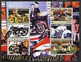 Congo 2004 Harley Davidson #1 perf sheetlet containing 6 values (with Elvis in background) unmounted mint