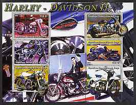 Congo 2004 Harley Davidson #2 perf sheetlet containing 6 values (with Elvis in background) unmounted mint
