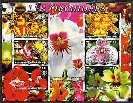 Congo 2004 Orchids perf sheetlet containing 6 values each with Scout Logo, unmounted mint, stamps on flowers, stamps on orchids, stamps on scouts, stamps on