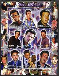 Congo 2005 Ben Affleck perf sheetlet containing 9 values unmounted mint