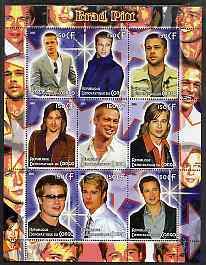 Congo 2005 Brad Pitt perf sheetlet containing 9 values unmounted mint