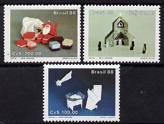 Brazil 1988 Christmas (Origami) set of 3 unmounted mint, SG 2329-31