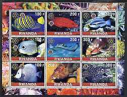 Rwanda 2001 Exotic Fish perf sheetlet containing 9 values each with Rotary & Lions International Logos, unmounted mint, stamps on fish, stamps on marine life, stamps on rotary, stamps on lions int