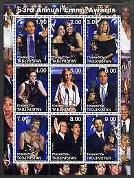 Tadjikistan 2001 53rd Annual Emmy Awards perf sheetlet containing 9 values (showing Streisand, etc) unmounted mint, stamps on entertainments, stamps on music, stamps on  tv , stamps on