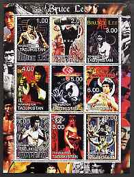 Tadjikistan 2001 Bruce Lee perf sheetlet containing set of 9 values unmounted mint