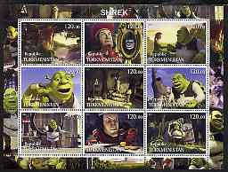 Turkmenistan 2001 Shrek perf sheetlet containing 9 values unmounted mint