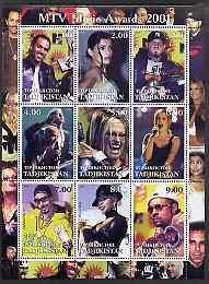 Tadjikistan 2001 MTV Music Awards perf sheetlet containing 9 values unmounted mint (REM, Anastacia, Shaggy etc)