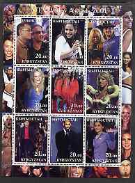 Kyrgyzstan 2001 MTV Video Awards perf sheetlet containing 9 values unmounted mint (U2, Britney, Mick Jagger, Pamela Anderson, etc)